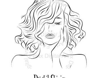Digital Stamp,Clipart,Line art,Fashion Lady portrait,Fashion Girl graphics,Digi stamp,digistamp,fashion Illustration INSTANT DOWNLOAD