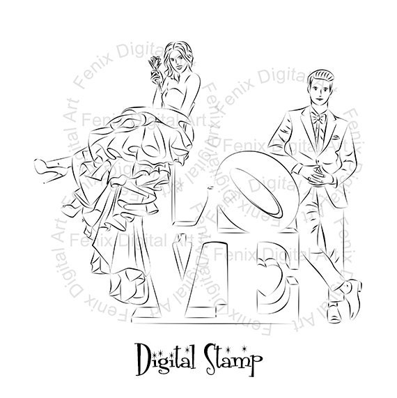 Digital Stamp,Clipart,Line art,Fashion couple,Love,Couple graphics,Digi stamp,digistamp,Art print,fashion Illustration INSTANT DOWNLOAD