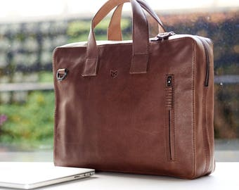 FATHERS Day Gift Black Laptop Leather Briefcase, Leather Bag, Messenger Bag, Satchel, Portfolio, Personalized gifts for men. // ROKO TOBACCO