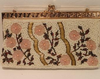 Vintage Beaded Handbag - Floral Beaded Purse - Beaded Clutch - Cherry Blossom - Beaded Purse