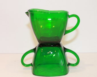 Forest Green Charm Cream and Sugar Set - Anchor Hocking Glass - Emerald Green Square Cream and Sugar Bowl