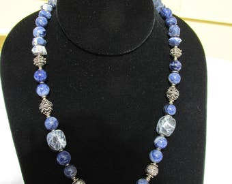 Lovely Sodalite Silver Necklace  Handmade 23""