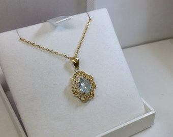 Art Deco pendant gold 585 with aquamarine old GA186