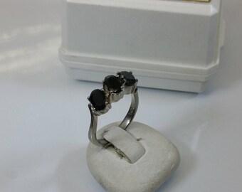 16.5 mm ring Silver 925 crystals black SR692