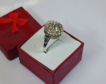 17 mm Crown ring silver filigree crafted Bulgaria SR164