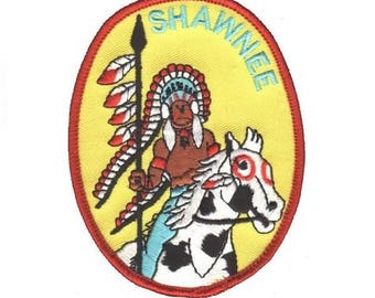 "Shawnee ""Indian"" Patch - Native American with Headdress and Horse"