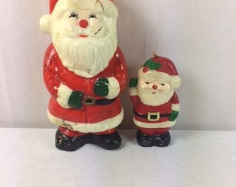 Santa Claus Candle Set Vintage Christmas Candle Set Vintage Santa Candle Set Santa Claus Shaped Candles