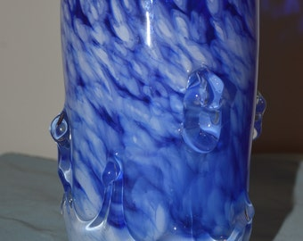 Hand Blown Blue and White Glass Tumbler