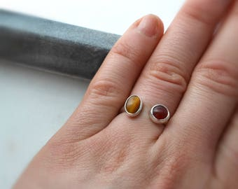 Tigers Eye and Carnelian Silver Ring