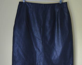 Black Leather a-line skirt Vintage  Maxima Wilsons Genuine LEATHER High Waisted 80s Retro Rocker UK SIze 8