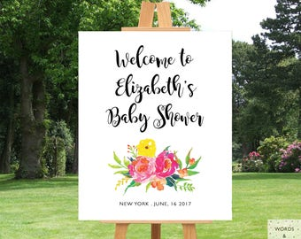 Baby Shower Decorations Girl, Girl Baby Shower Decoration, Custom Baby Shower Banner, Personalized, Floral, Baby Sprinkle Decorations, PDF