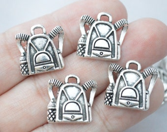 5 Pcs Backpack Charms School Charms Antique Silver Tone 16x16mm - YD1107