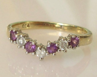 9ct Gold Amethyst and Diamond Wishbone Ring