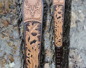 Custom Leather Rifle Sling, Hand Tooled Rifle Sling