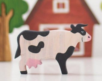 Wooden Toy Cow Farm animals Learning toy Wooden animal figurines Montessori toy Waldorf nature table Educational toys Handmade toys