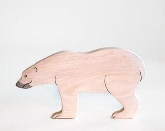 Wooden Polar Bear. Ice bear toy.  North pole animal figurine. White bear toy