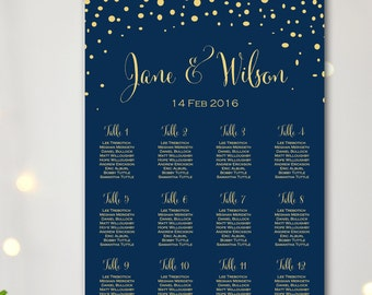 Navy Find your Seat Chart, Confetti Wedding Seating Chart, Wedding Seating Poster, Wedding Seating Sign, Wedding Seating Board TG10 WC137
