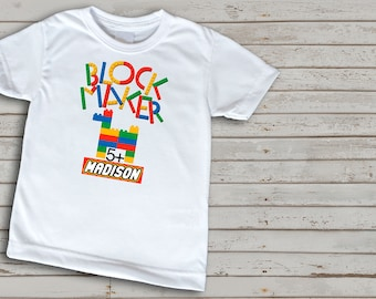 Lego inspired t-shirt, lego themed birthday party, block maker, customized lego themed t-shirt for children, colourful building blocks
