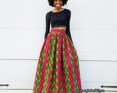 Pink and Green Ankara Maxi Skirt (XS - 6XL) Slit or No Slit - Plus Size Too