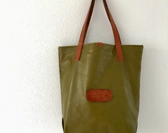 Large olive green leather tote bag