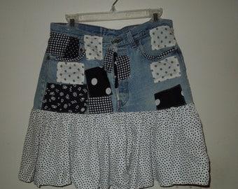 Vintage Contempo Casual Levi Strauss Denim, Black & White Patchwork Skirt M/L