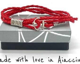 anchor steel on leather bracelet