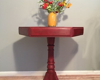 Burgundy Pedestal End Table- Hexagonal Annie Sloan Chalk Painted