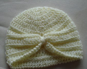 Lemon Baby Turban Hat crocheted in 8 ply Acrylic Baby Yarn