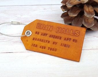 Personalized Luggage Tag - Leather Travel Tag - Custom Hand Stamped Address Bag Tag - Gift for Him