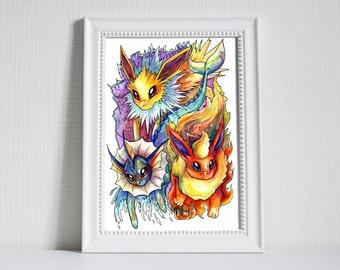 A3 Pokemon Print - Eeveelutions! Jolteon, Vaporeon and Flareon!