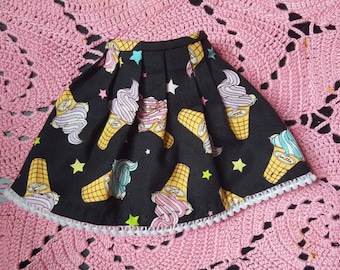 Black Ice Cream Pastel Goth High Waisted Pleated  BJD dress for SD / MSD