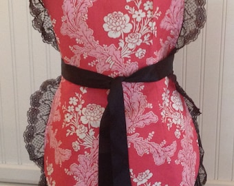 French Maid Apron, Pink and white flowers, Black lace, jennifer paganelli fabric