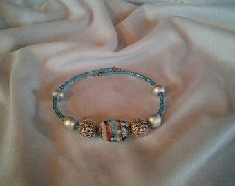 Blue and Silver Clutch Bracelet