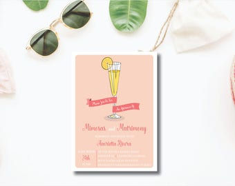 Mimosas and Matrimony DIY Printable Bridal Shower Invitation