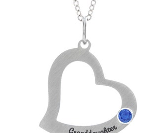 Granddaughter Heart Gift for Granddaughter Necklace, Stainless Steel Heart Pendant, Personalized Birthstone Granddaughter Stamped Necklace