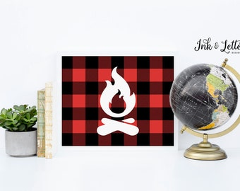 Camping Printable - Buffalo Plaid Campfire Print - Campfire - Red and Black - Adventure Nursery - Plaid Printable - Instant Download - 8x10