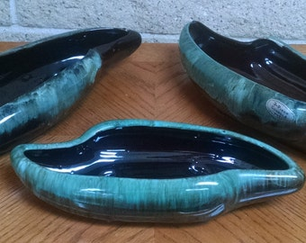 Enesco Console Set - Three Piece Brown and Green Drip Glaze - Vase / Planter/ Ceramic Art - MId Century Modern - Collectible - Vintage