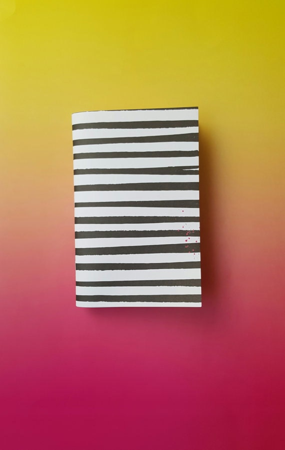 Black and White Rustic Striped Journal with Lined Pages