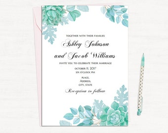 Succulent wedding invitation template Mint wedding Floral invites printable Blue and green wedding Modern invitation card download 1W128