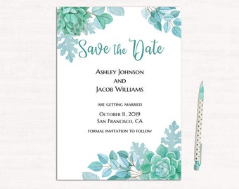 Succulent wedding announcement template Mint save the date printable Digital download Cactus save our date Modern wedding diy editable 1W128