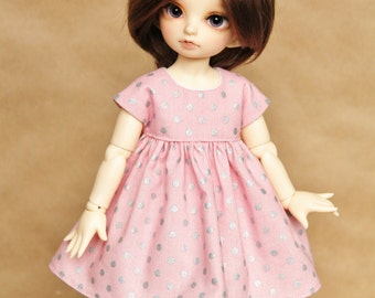 Pink Polka Dot Dress for Littlefee and YOSD Dolls || Pastel Pink Dress with Silver Polka Dots for YOSD and Littlefee BJD Dolls