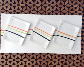 Large Ceramic Sushi Serving Plate With 3 Sauce Dishes / Tapas Tray/ Sushi Tray/ White Sushi Plate / Rectangular Appetizer Tray