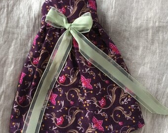 Dress for Blythe doll, Sleeveless, midi-length, Burgandy Floral Dress for Blythe and similar sized dolls