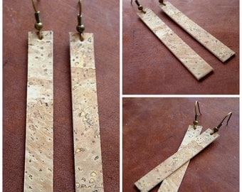 Cork dangle earrings lightweight in vegan friendly cork leather / inspired by HGTV's Joanna Gaines earrings / boho / 3rd anniversary