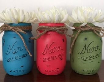 Set of 3 Pint Jars-Hand painted Jars-Painted and Distressed Jars-Spring Summer Fall Jars-Jar Vases-Jar Centerpieces-Blue Pink Green Jars