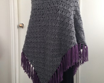 Crochet Grey and Purple Poncho with Collar and Fringe, ideal for Cool Summer evenings and Fall lovely Gift for Her, Women, Teens, Children