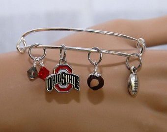 Ohio State Buckeyes Wire Bangle Bracelet. Buckeyes Color Logo Charm, Buckeye, Football & Swarovski Crystals. Ohio State Buckeyes Jewelry