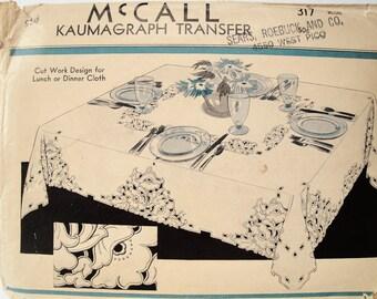 Vintage Cutwork, Embroidery Pattern, McCalls 317 Kaumagraph Transfer, 1935, Tablecloth, Floral Cutwork Motif, Tea Towel, Pillowcase