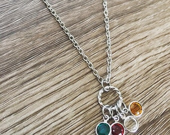 Multiple birthstone necklace / Cluster birthstones / birthstone jewelry / up to 10 / grandma gift / grouped stones / Christmas gift for her