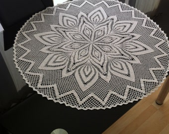 crochet doily white tablecloth  extra large round tablecloth crocheted lace doily 100% Cotton white lace